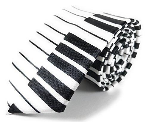 Black and White Piano Keys Skinny Necktie