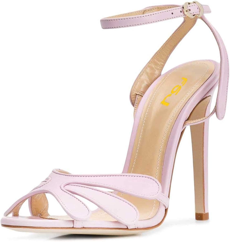 FSJ Women Peep Toe Stiletto High Heels Ankle Strap Sandals Flower Cutout Summer Dress Pumps Size 4-15 US