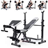 New Olympic Weight Bench, Adjustable Weight Lift Bench Rack Set, Barbell Dumbbell Bench, Push Up Back Sit Up Bench, Full-Body Workout (Black)