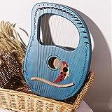 Harpe Lyre, 16 Cordes Métalliques Selle d'os Harpe à lessive d'acajou avec clé de Réglage et Sac de Concert Petit Instrument de Musique Portable,002