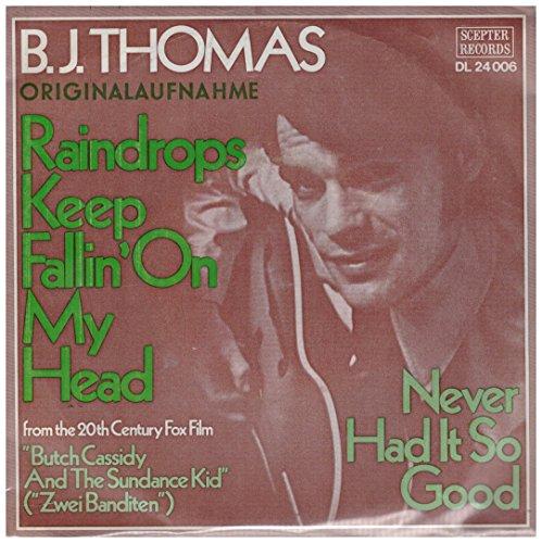 "Raindrops Keep Fallin`On My Head / ""Butch Cassidy And The Sundance Kid"" (""Zwei Banditen"") / Never Had It So Good / B.J. THOMAS / Bildhülle / Deutsche Pressung / SCEPTER RECORDS # DL 24 006 / 7"" Vinyl Single Schallplatte"