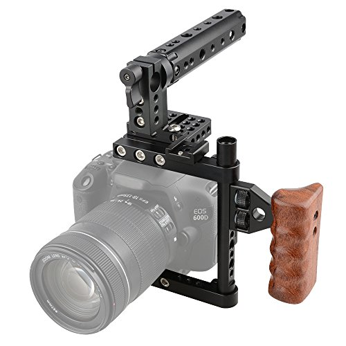 CAMVATE DSLR Camera Cage Top Handle Wood Grip Compatible for Nikon Sony Panasonnic
