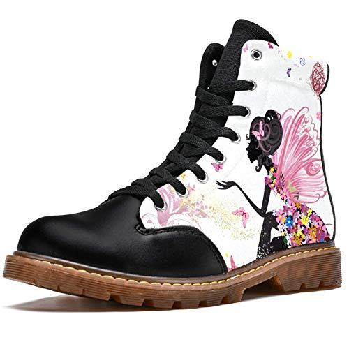 Bennigiry Chica Elegante Mariposa Botas de Invierno Zapatos clásicos de Lona de caña Alta para Mujer