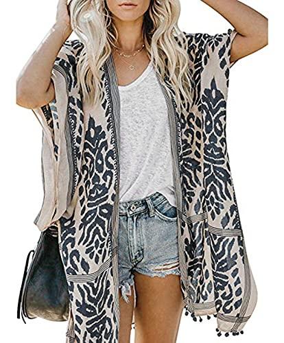 Damen Kimono Cardigan Strand Sommer, Loose Lange Boho Bikini Cover Up, Oversized Mode Leichte Frauen Beachwear Bedecken, Strandkleider, Weiß Blau Printed