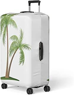 Luggage Cover Green Coconut of Two Palm Trees Beach Tropical Cartoon Travel Suitcase Cover Protector Baggage Case Fits 22-24 Inch