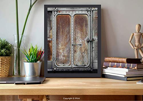 №20434 Modern Wall Decor,Framed Wall Art,Industrial Decor,Vintage Railway Container Door Metal Old Locomotive Transportation Iron Power Design,Grey Brown, Best for Gifts