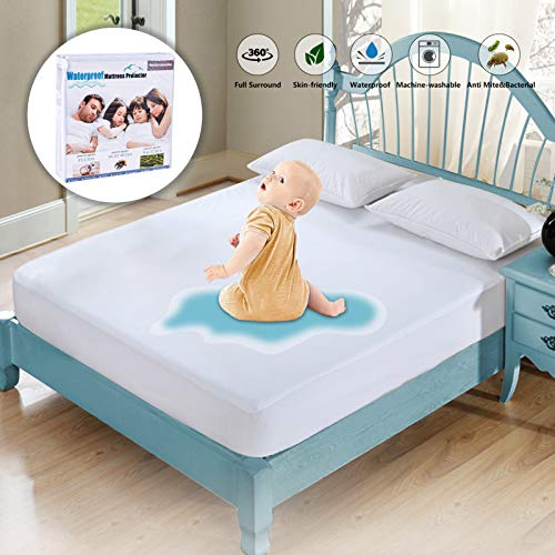 """Full Size Mattress Protector Waterproof Mattress Pad Cover Breathable Noiseless Deep Pocket Bed Cover for 6-14"""" Pad - Soft Washable Hypoallergenic Vinyl Free (White, Full)"""