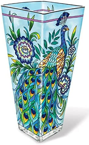 Amia Finally popular brand 42017 Hand Painted Glass Cheap mail order specialty store 10-Inch Peacock Vase Design