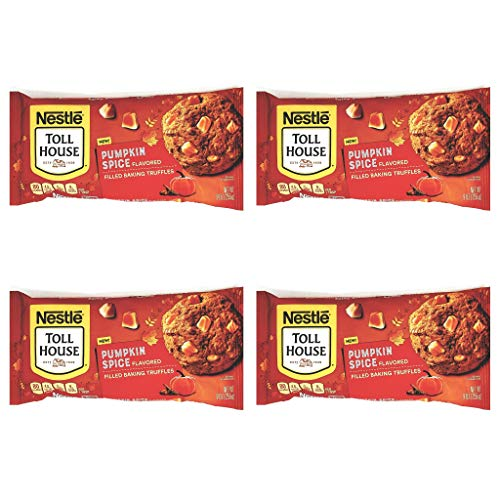 Nestle Tollhouse Pumpkin Spice Flavored Filled Baking Truffles - Pack of 4 Bags - 36 oz Total - Seasonal Morsels - Great For Baking Cookies and Other Sweet Treats - Bulk Chips