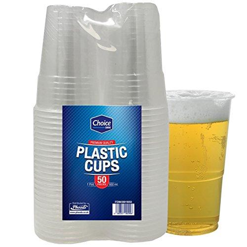 Confezione da 50robusti bicchieri da birra in plastica usa e getta, ideali per feste e per ogni tipo di evento e occasioni, contiene circa una pinta di birra, 660 ml
