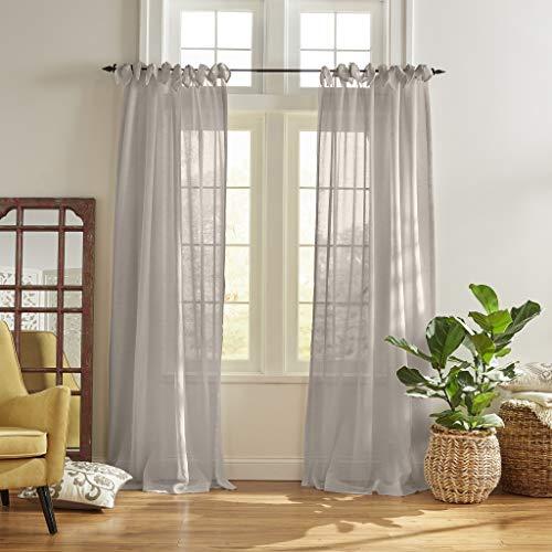 "Elrene Home Fashions Vienna Tie-Top Sheer Window Curtain Panel, 52"" x 95"" (1, Light Gray"