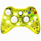 Xbox 360 Inalámbrico Controlador, Inalámbrico Juego Controlador Gamepad Palanca De Mando, Transparente Cáscara, Adecuado Para Consola Xbox 360 / PC Con Windows 7/8/10 -Transparentes Luces De Colores L