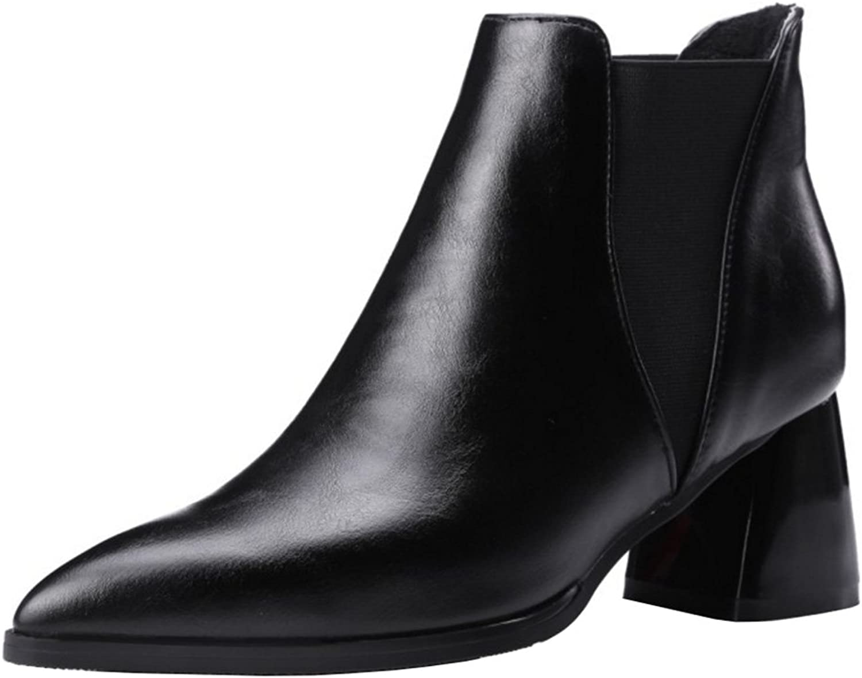 FANIMILA Women Fashion Solid Pointed Toe Chelsea Boots