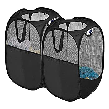 Pop Up Laundry Hamper 2 Pack Foldable Mesh Pop-up Laundry Hamper with Reinforced Carry Handles Mesh Laundry Basket  Black