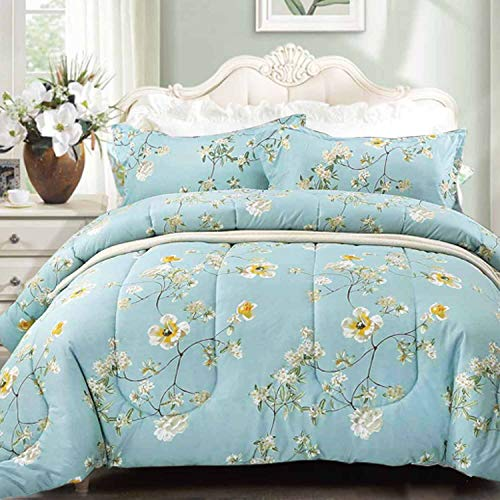 NANKO Comforter Set Queen Size,Teal 88 x 90 inch Reversible Down Alternative Comforter Microfiber Duvet Sets (1 Comforter + 2 Pillow)Best Country Style Floral Leaf Vintage Flower Print Bedding, Green
