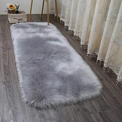 HEQUN Faux Lammfell Schaffell Teppich, Kunstfell Dekofell Lammfellimitat Teppich Longhair Fell Nachahmung Wolle Bettvorleger Sofa Matte (Grau, 150 X 50 cm)
