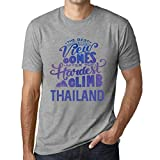 One in the City Hombre Camiseta Vintage T-Shirt Gráfico Best Views Mountains Thailand Gris Moteado