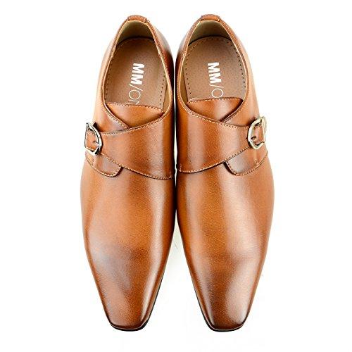 MM/ONE mens shoes Oxford Double Monk Strap Dress Shoes Cap-toe brown shoes Medallion Formal Lace-up Plain-toe Side Shoes Wingtip Monkstrap Brown, 43 EU (US mens shoes 10 M)