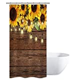 Riyidecor Duschvorhang, rustikale Sonnenblumen, Holz 36Wx72H braun