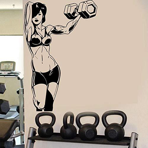 WERWN Culturismo Fitness Pegatinas de Pared Ejercicio físico Mujer músculo Barbell Pared Vinilo Gimnasia rítmica para decoración Mural