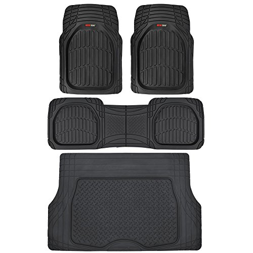 Motor Trend Original FlexTough Black Rubber Car Floor Mats with Cargo Liner - All Weather Automotive Floor Mats, Heavy Duty Trim to Fit Design, Odorless Floor Liners for Cars Truck Van SUV