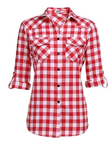 Zeagoo Womens Plaid Flannel Shirt, Roll up Long Sleeve Checkered Cotton Shirt,Watermelon Red,Medium