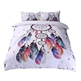 Andrui - Juego de funda nórdica y fundas de almohada, exótico estampado étnico de atrapasueños, color blanco, para cama individual, de matrimonio o King Size
