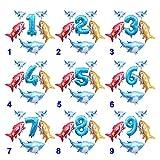 Kfdzsw Globos Grandes Globos de lámina de océano Baby Shark Boy Girl Niños Niños 1ra Fiesta de cumpleaños Suministros Number Ballon Decoración Fiesta (Color : Set 3, Shape : Number 6)
