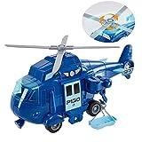 HERSITY Avion Jouet Hélicoptère de Police avec Sons et Lumière pour Enfants Garçon Fille 3 4 5 Ans (Bleu)