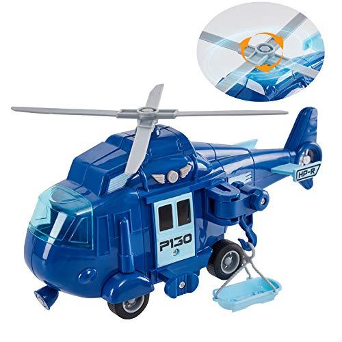 HERSITY Helicóptero de Rescate Avion de Juguete con Luz y Sonidos Regalos para Niños 3 4 5 Años (Azul)