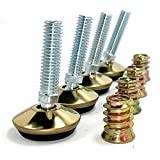 UNWIREDD Swivel Furniture Leg Levelers - Adjustable Leveling Feet Glide for Tables Chairs Cabinets Workbench Shelving Rack - 1.3' Dia. Base, 3/8'-16 Thread (D34, Brass Finish, 4 Pack)…