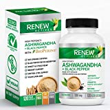 NEW Renew Actives Organic ASHWAGANDHA Capsules: 1300 Mg of Ashwagandha with 10 Mg of BLACK PEPPER - Powerful Herbal Supplement to Help Reduce Anxiety and Support Energy Levels - 120 Veggie Supplements