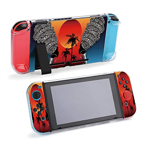 SUPNON Afro Art Craft Batik Paint, Fabric Printing Protective Case Compatible with Nintendo Switch Soft Slim Grip Cover Shell for Console & Joy-Con with Screen Protector, Thumb Grips Design25477