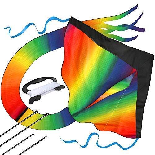 Riesiger Regenbogen-Leichtwinddrache mit 50m Drachenschnur - Lenkdrachen für Kinder - Kinder-Drachen - Flugdrachen Einleiner mit eBook zum Download - Fliegt wie \'ne Eins, bei leichter Brise