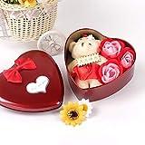 Bebliss 3Pcs Caja de regalo con forma de corazón de pétalo de flor de rosa perfumada con baño de oso Regalo de jabón de cuerpo Favor de fiesta de boda para el día de San Valentín, aniversario