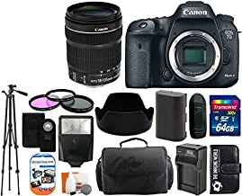 Canon EOS 7D Mark II 20.2MP CMOS Digital SLR Camera Body with 18-135mm is STM Lens + 64GB Card + Case + Tripod + Spare Battery and Charger + Flash + Lens Hood + Digital Camera Accessory Bundle