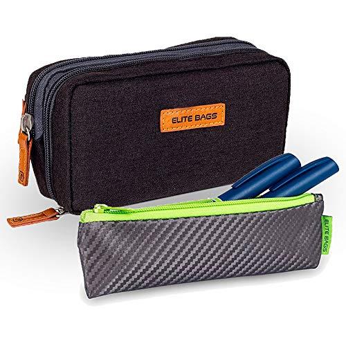 Elite Bags, Pack 2 estuches para diabéticos, Estuche isotérmico negro Diabetic's, Estuche isotérmico gris y lima Insulin's ⭐