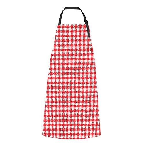 Delantal con textura de picnic de mantel blanco rojo para mujer con bolsillos Mantel blanco rojo con textura de picnic lazo ajustable con bolsillos para adulto