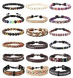 LOLIAS 18Pcs Leather Chakra Bead Tribal Bracelet for Men Women Charm Ethnic Wood Beaded Hemp Bracelets Boho Wristbands