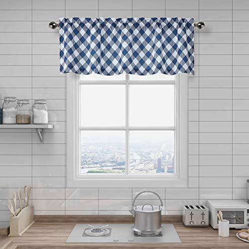 "Amzdecor Buffalo Check Plaid Kitchen Cafe Valance, Buffalo Check, Classic Lattice Diamond Pattern Design, Blue Rural Farmhouse Style Window Curtain, 55"" x 15"" Valance"