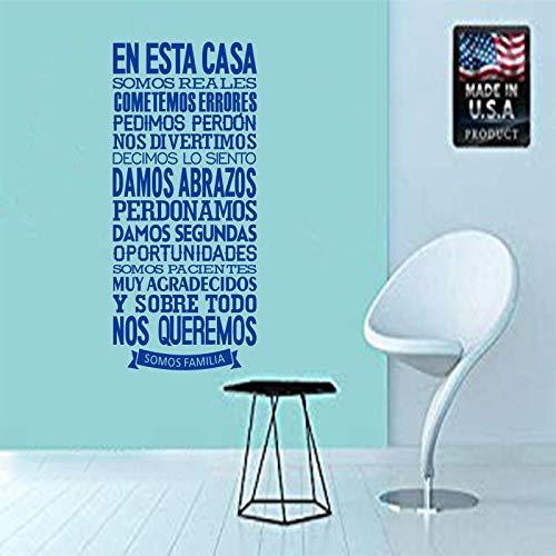 KDSMFA - Pegatinas de pared de vinilo para pared, diseño de regla de la casa española, papel pintado extraíble, decoración del hogar, sala de estar, 55 x 105 cm