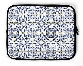 Funda personalizable para ordenador portátil, diseño de mosaico español con monograma de Barcelona, funda para portátil de 13' 14' 15' 16', multicolor (Multicolor) - 20July20laptopbag-198