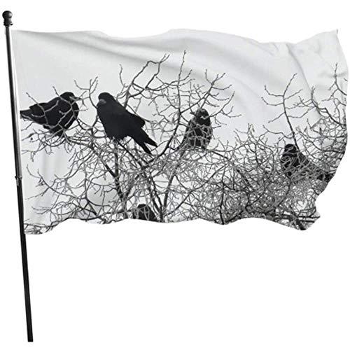 Kenice Haus Hof Flagge,Feiertage Flags,Garten Banner,Gartenflaggen,3'X5',Hauptflagge,Krähe Winter Winterlich Kalt Winter Stimmung Frost Bäume Party Dekorationen Flaggen Flagge Dekor