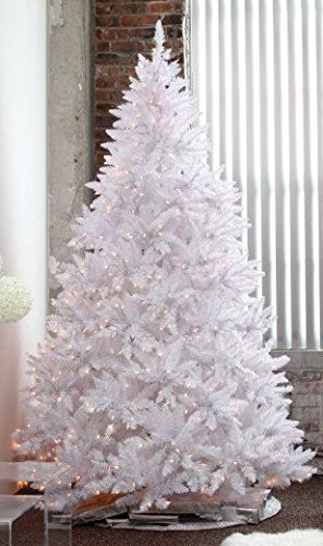 HOLIDAY STUFF 8 Feet Pre-lit Sparkling White Christmas Tree 800 Warm White LED Lights (8ft Prelit)