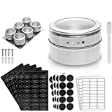 MAYELA Spice Magnetic Containers | Kitchen Storage Organizer For Small Indian Spices Tins Tea & Rack | Adhere To Refrigerator | Stress-Free Organization | Seasoning Box Holder Jar & 250 Sticker Labels