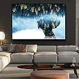 Abstract Green Forest Gold Tree Carteles e impresiones Figura Pintura al óleo sobre lienzo Arte de la pared Imágenes Sala de estar 50x70cm