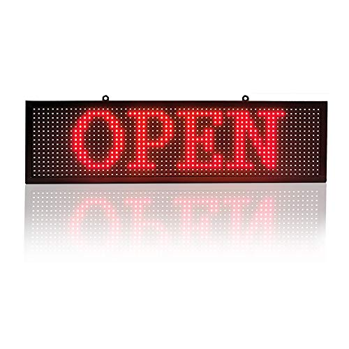 P10 led Single Color Sign 26''x8'' with WiFi Connection Scrolling Message led Sign for Business Programmable Display Message Rolling (Red)