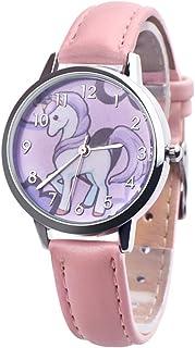 Hemobllo Unicorn Watch Waterproof Quartz Wrist Watch Children Watch Wrist Time Device with Leather Bands Birthday Kids (Pink)
