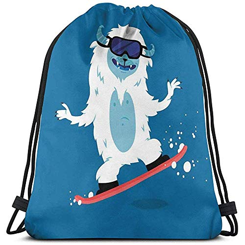 jenny-shop Gedruckte Rucksackbeutel mit Kordelzug, Yeti-Monster-Illustration beim Snowboarden im Fantasy-Monster-Wintermotiv
