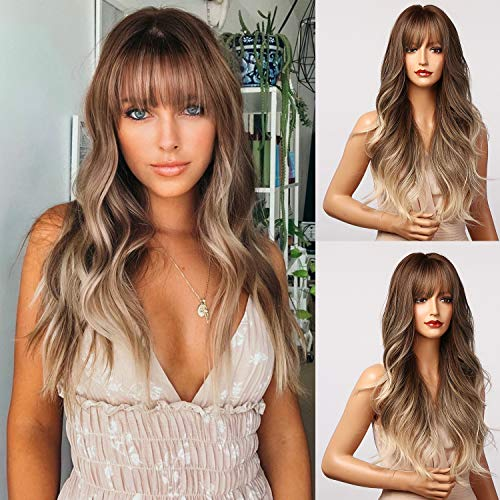 Honygebia Brown Wig with Bangs - Long Wavy Ombre Wigs for Women, Light Ash Brown Synthetic Heat Resistant Hair, Natural Looking Entranced Styles - Best Realistic Cute Wigs for Everyday/Party/Cosplay